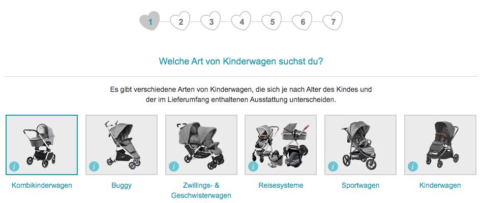 Im ersten Schritt fragt der Kinderwagenberater von babymarkt.de nach der gewünschten Art des Kinderwagens.