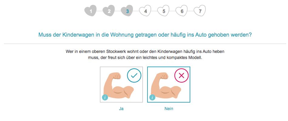 Im dritten Schritt fragt der Kinderwagenberater von babymarkt.de, ob der Kinderwagen häufig getragen werden muss.