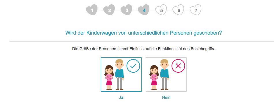 Im vierten Schritt fragt der Kinderwagenberater von babymarkt.de nach der Größe der Personen, die den Kinderwagen schieben.