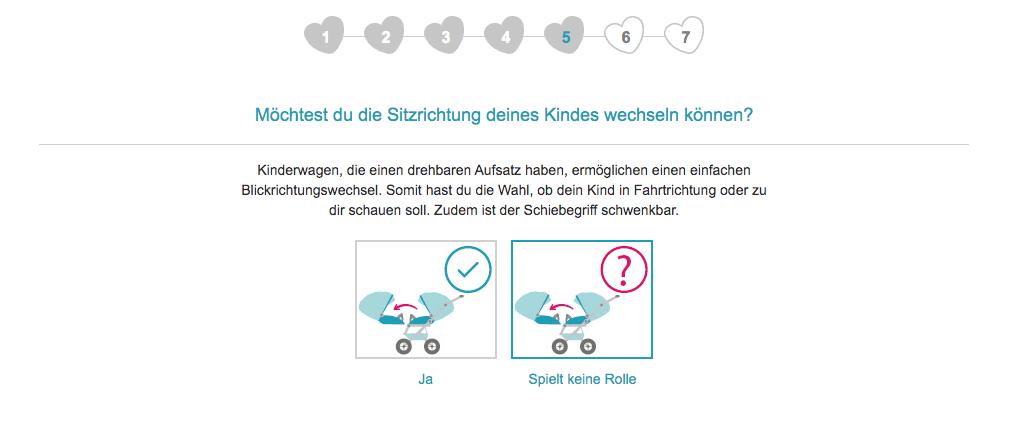 Im fünften Schritt fragt der Kinderwagenberater von babymarkt.de nach der gewünschten Sitzrichtung des Kindes im Kinderwagen.