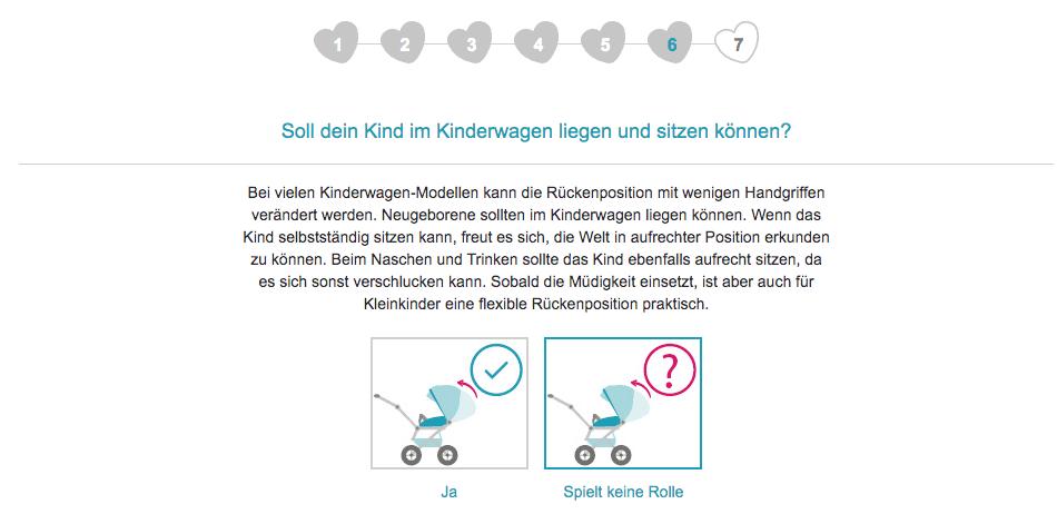 Im sechsten Schritt fragt der Kinderwagenberater von babymarkt.de nach der gewünschten Rückenposition des Kindes im Kinderwagen.