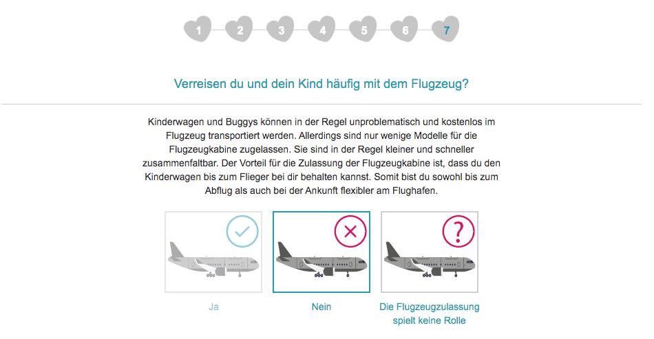 Im siebten Schritt fragt der Kinderwagenberater von babymarkt.de, ob Eltern und Kind häufig mit dem Flugzeug verreisen.