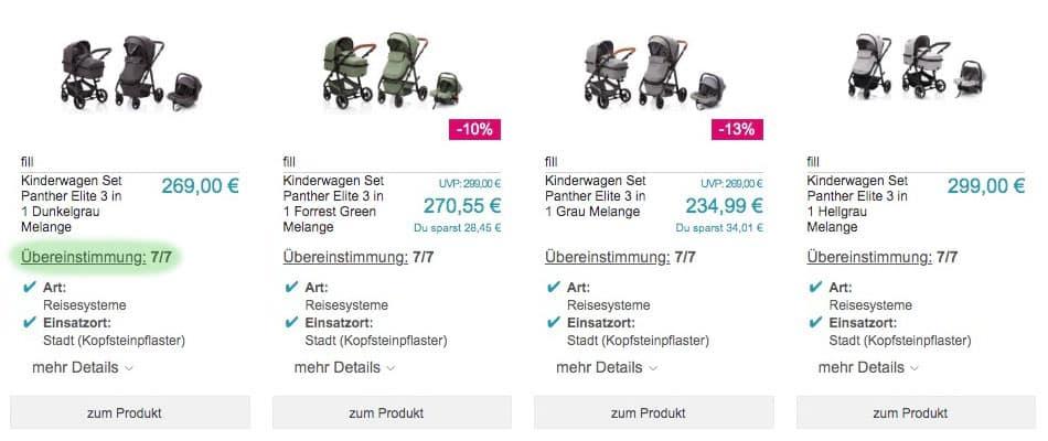 Das Bild zeigt die Ergebnisliste der passenden Produkte nachdem ein Kunde den Beratungsprozess für Kinderwagen bei babymarkt.de durchlaufen hat. Er sieht anhand der Übereinstimmung, welche Produkte seinen Bedarf decken.