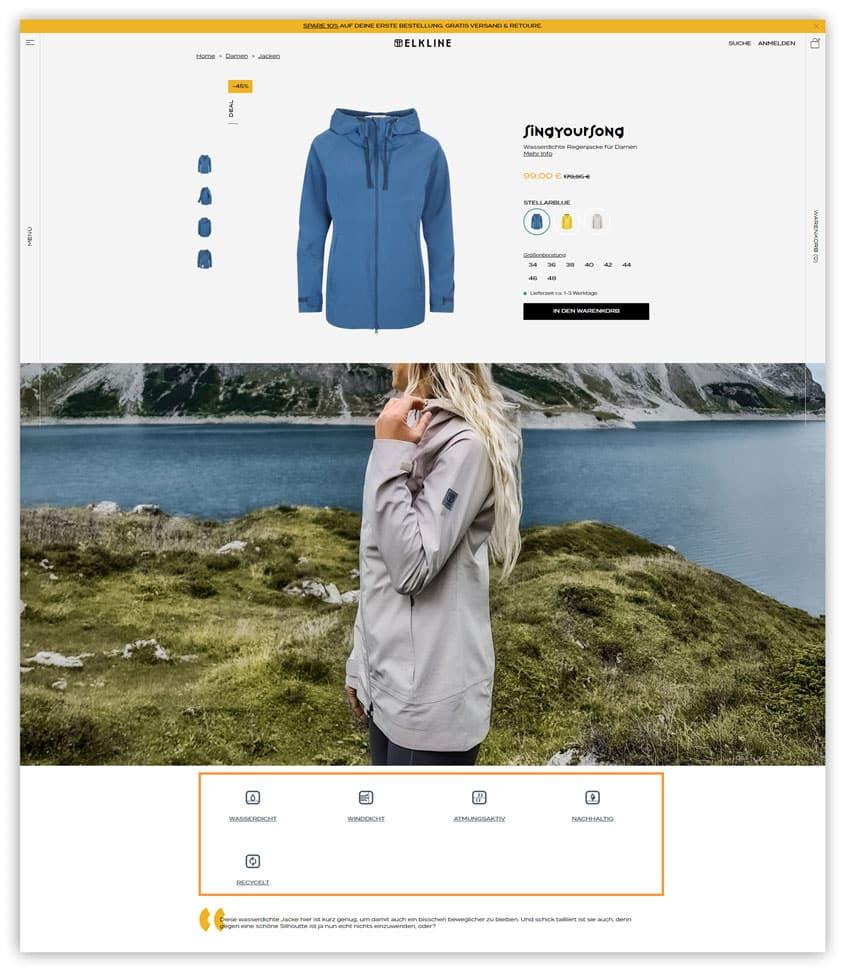 Das Bild zeigt Alleinstellungsmerkmale auf der Produktdetailseite im Online Shop von Elkline. Neben Schriftart und Bildsprache werden hier auch besondere Merkmale des Produkts kommuniziert.