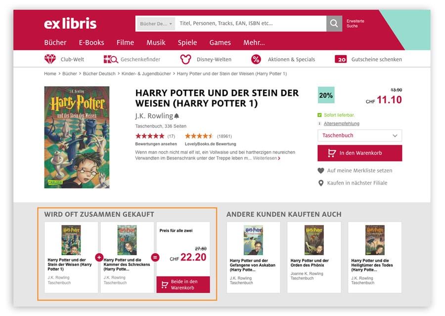 Das Bild zeigt eine Produktdetailseite im Online Shop von Ex Libris. Hier wird dem Kunden ein Bundle bestehend aus zwei Harry Potter Romanen angeboten.