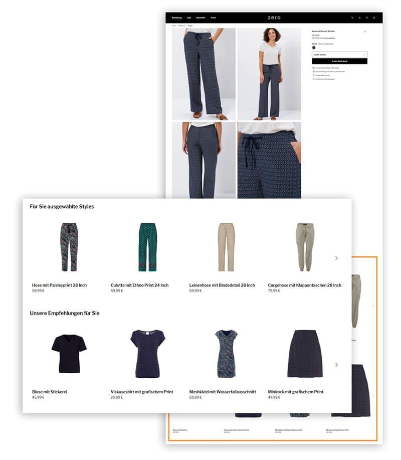 Das Bild zeigt Empfehlungen auf einer Produktdetailseite im Online Shop von Zero. Angezeigt werden Komplementär-Artikel, die das ausgewählte Produkt ergänzen.