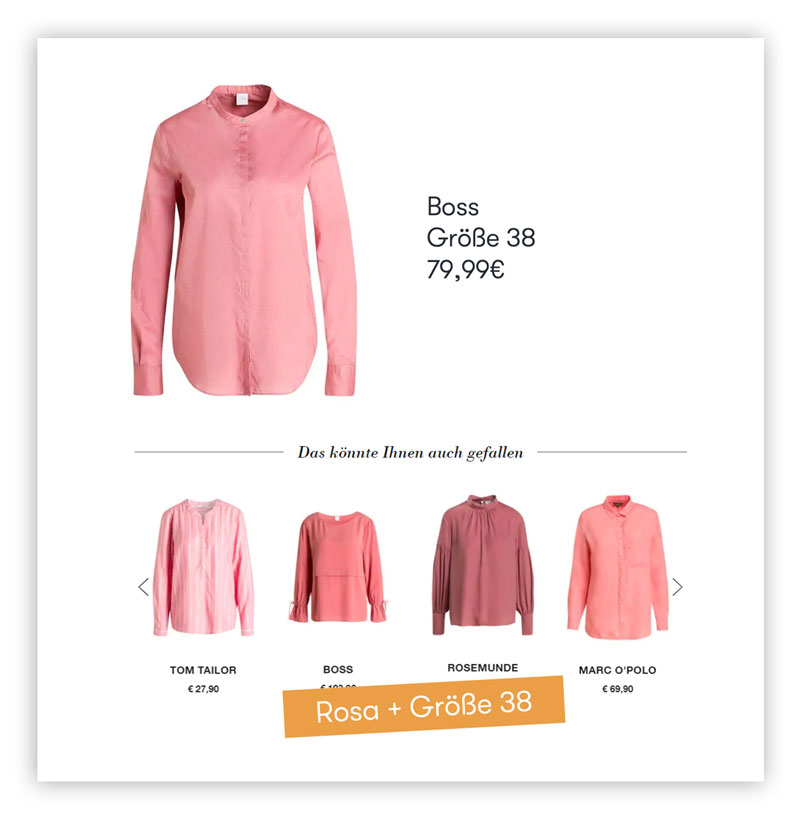 Das Bild zeigt personalisierte Produktempfehlungen in Form von alternativen Blusen in der Lieblingsfarbe und passenden Größe des Kunden auf einer Produktdetailseite.