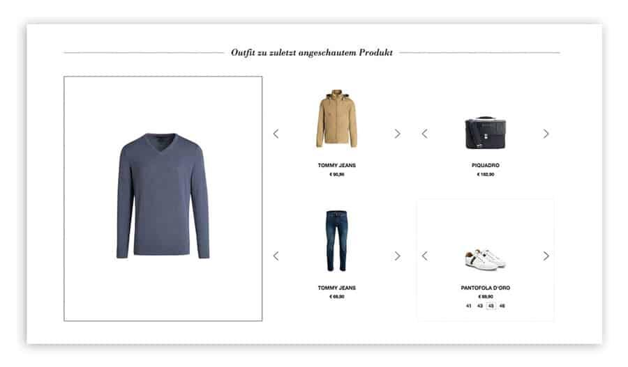 Das Bild zeigt ein Produkt-Set im Online Shop von Outletcity Metzingen. Kunden können sich hier ein komplettes Outfit zusammenstellen.