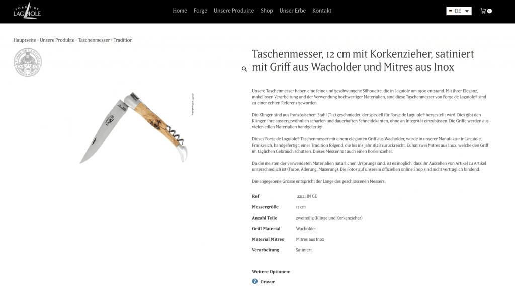 Das Bild zeigt eine Produktdetailseite mit vielen Informationen zum Produkt. Für die Conversion-Optimierung sollten Absprungpunkte in die Kategorie oder den Warenkorb sofort ersichtlich sein.