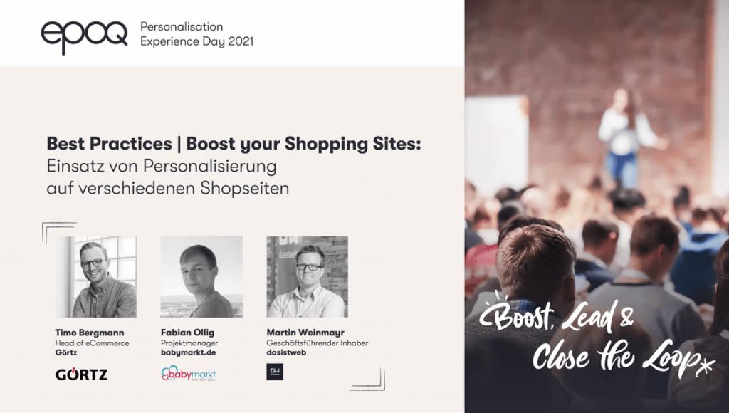 """Auf dem Bild sind die Speaker des Slots """"Best Practices   Boost your Shopping Sites: Einsatz von Perosnalisierung auf verschiedenen Shopseiten"""" des epoq Personalisation Experience Day 2021 zu sehen"""