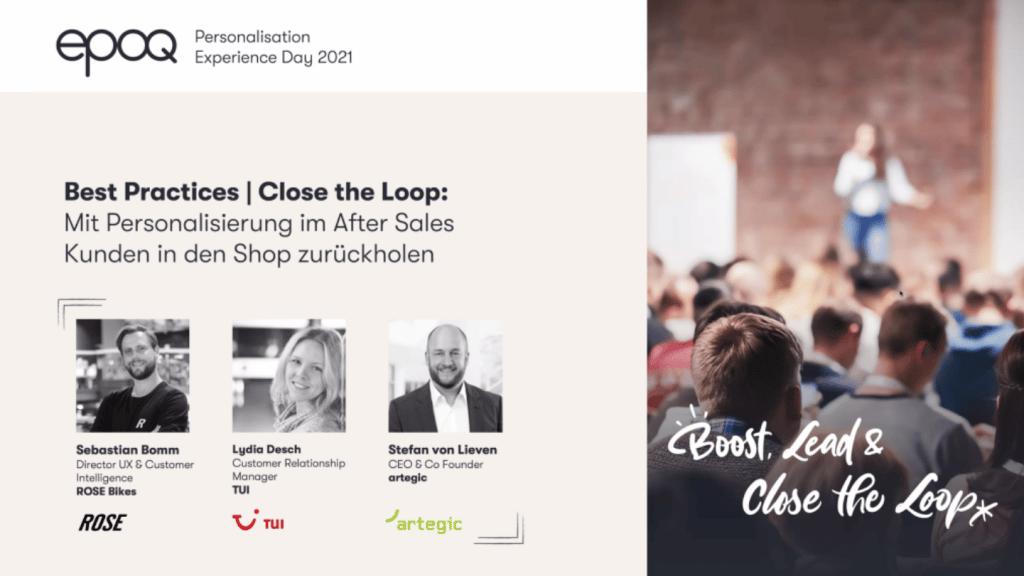 """Auf dem Bild sind Speaker des Slots """"Best Practices   Close the Loop: Mit Personalisierung im After Sales Kunden in den Shop zurückholen"""" des epoq Personalisation Experience Day 2021 zu sehen"""