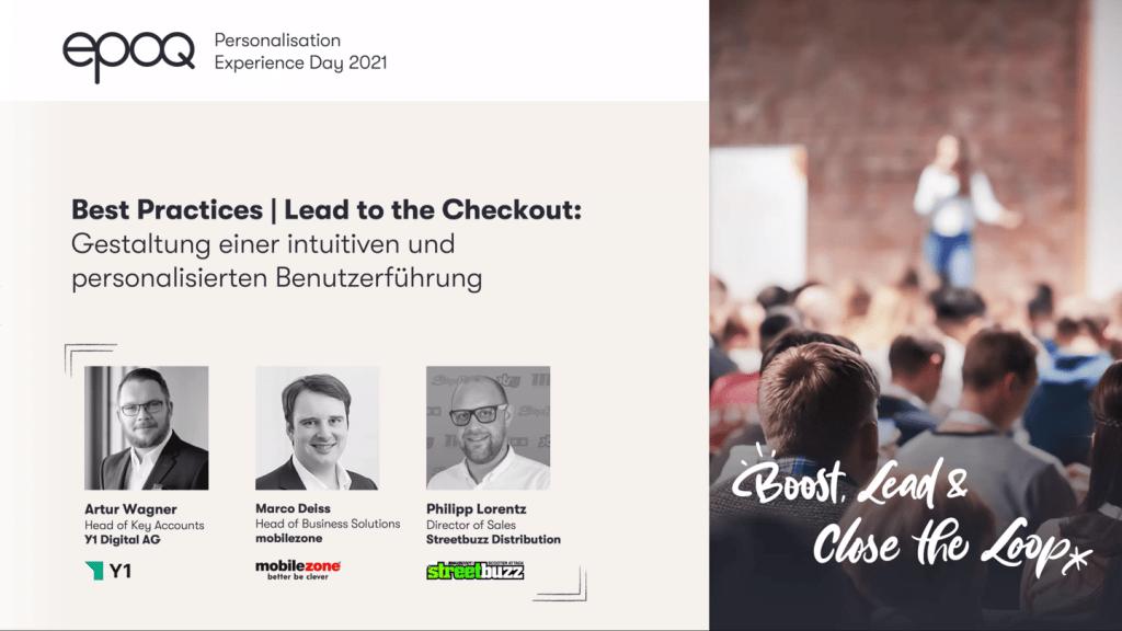"""Auf dem Bild sind Speaker des Slots """"Best Practices   Lead to the Checkout: Gestaltung einer intuitiven und personalisierten Benutzerführung"""" des epoq Personalisation Experience Day 2021 zu sehen"""