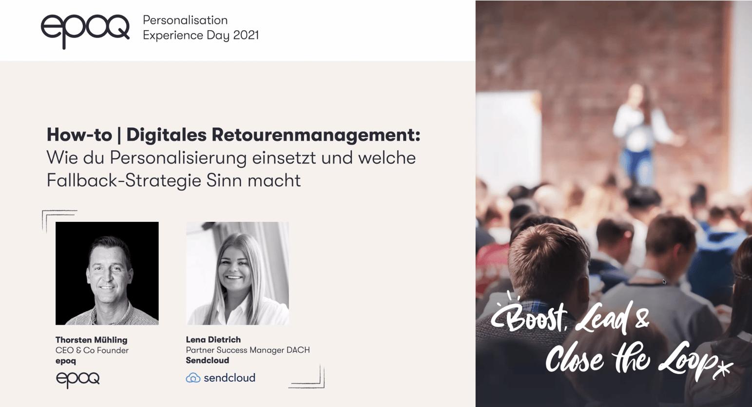 """Auf dem Bild sind Speaker des Slots """"How-to   Digitales Retourenmanagement: Wie du Personalisierung einsetzt und welche Fallback-Strategie Sinn macht"""" des epoq Personalisation Experience Day 2021 zu sehen"""