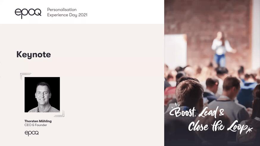 """Auf dem Bild ist der Speaker des Slots """"Keynote zur Personalisierung"""" des epoq Personalisation Experience Day 2021 zu sehen"""