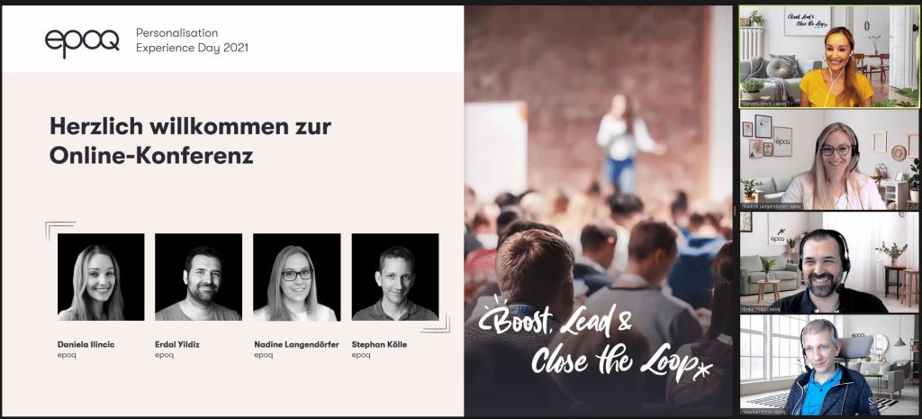 Auf dem Screenshot sind die Moderatoren des epoq Personalisation Experience Day 2021 zu sehen, die die Teilnehmer willkommen heißen