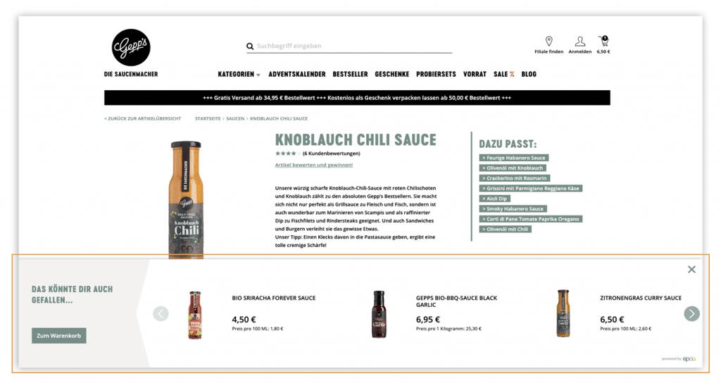 Der Screenshot zeigt ein Beispiel für ein Recommendaton Widget als Panel im Online Shop von Gepp's.