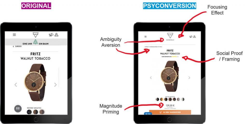 Optimierung der Produktdarstellung durch den Einsatz von Behavior Patterns im Online Shop von Kerbholz