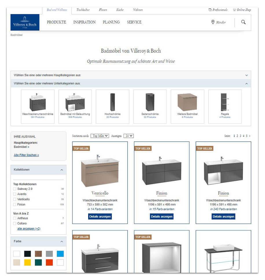 Das Bild zeigt einen Ausschnitt aus dem Online Shop von Villeroy & Boch, in dem die Facettennavigation zu sehen ist. In der Phase der Produktrecherche kann neben einer intelligenten Suche auch eine Facettennavigation deine Shopkunden bei der Orientierung im Online Shop unterstützen.