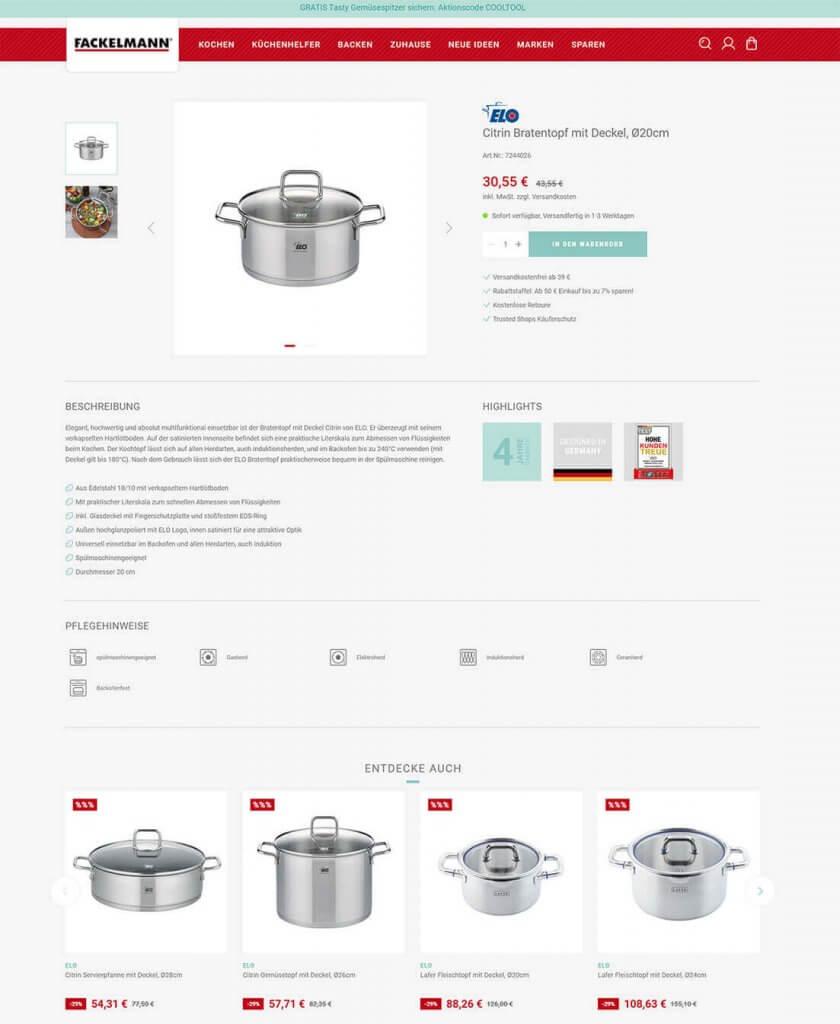 Empfehlung ähnlicher Produkte auf der Produktdetailseite