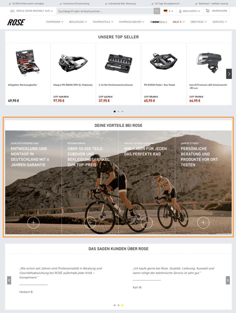 Der Screenshot zeigt einen Ausschnitt der Startseite von ROSE Bikes. Der Online Shop präsentiert verschiedenen Alleinstellungsmerkmale auf der Startseite.