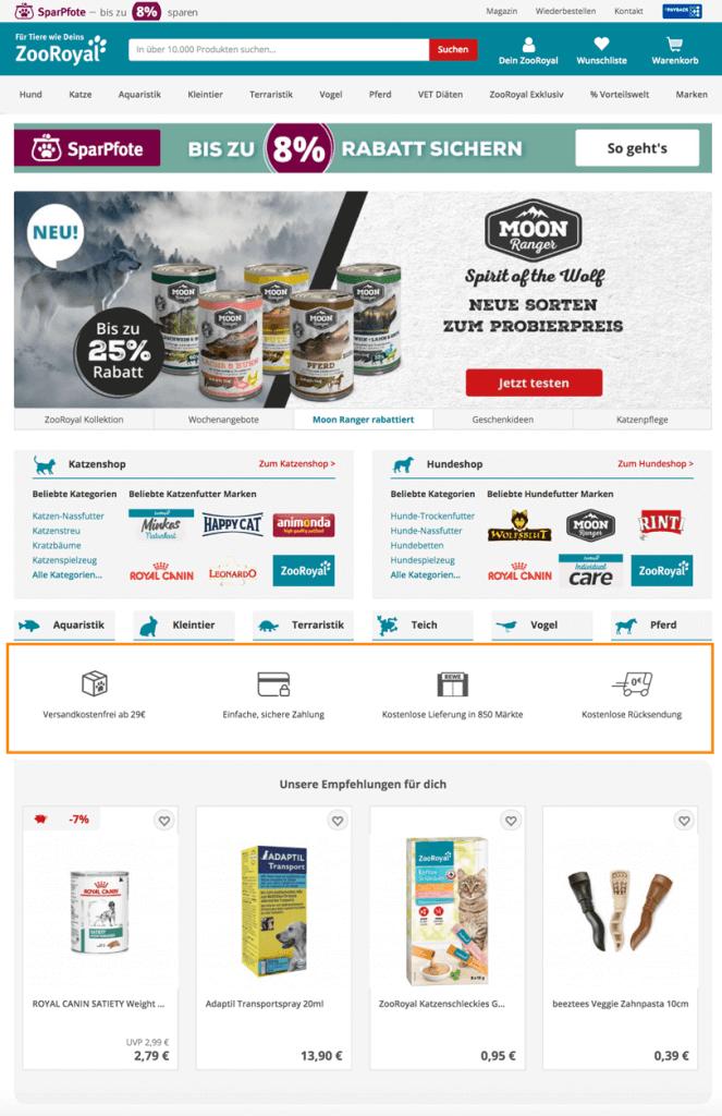 Der Screenshot zeigt einen Ausschnitt der Startseite von ZooRoyal. Der Online Shop präsentiert hier unter anderem Alleinstellungsmerkmale.