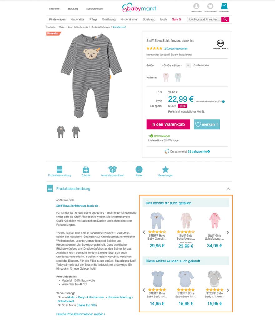 Das Bild zeigt eine Produktdetailseite im Online Shop von babymarkt.de mit passenden Empfehlungen zum ausgewählten Produkt.
