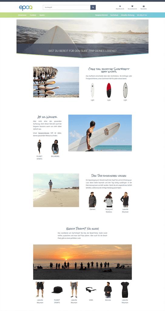 Der Screenshot zeigt eine Content-Seite zum Thema Surf-Trip, auf der thematisch passende Produktempfehlungen angezeigt werden.