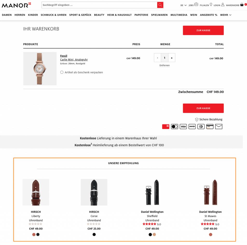 Das Bild zeigt einen Warenkorb bei Manor. Zum ausgewählten Produkt werden ergänzende Empfehlungen angezeigt.