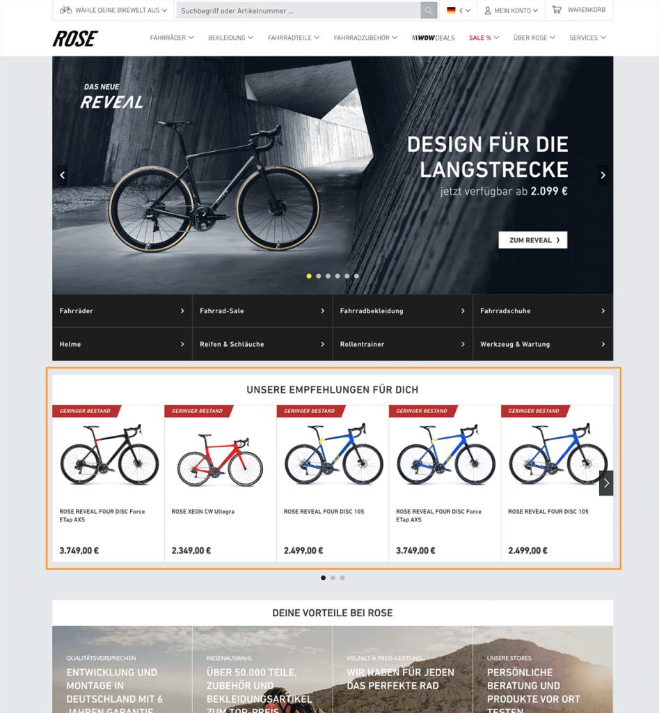 Das Bild zeigt die Startseite des Online Shops von ROSE Bikes mit relevanten Produktempfehlungen.