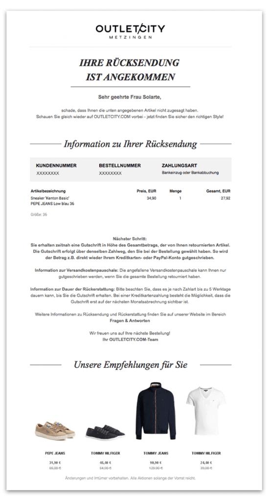 Das Bild zeigt eine Bestätigungs-E-Mail von OUTLETCITY METZINGEN mit der Information, dass die Rücksendung angekommen ist.