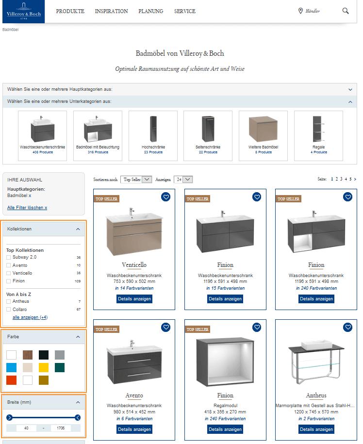 Der Screenshot zeigt die facettierte Suche im Online Shop von Villeroy & Boch, mit der die Nutzer Suchergebnisse gezielt und flexibel filtern können.