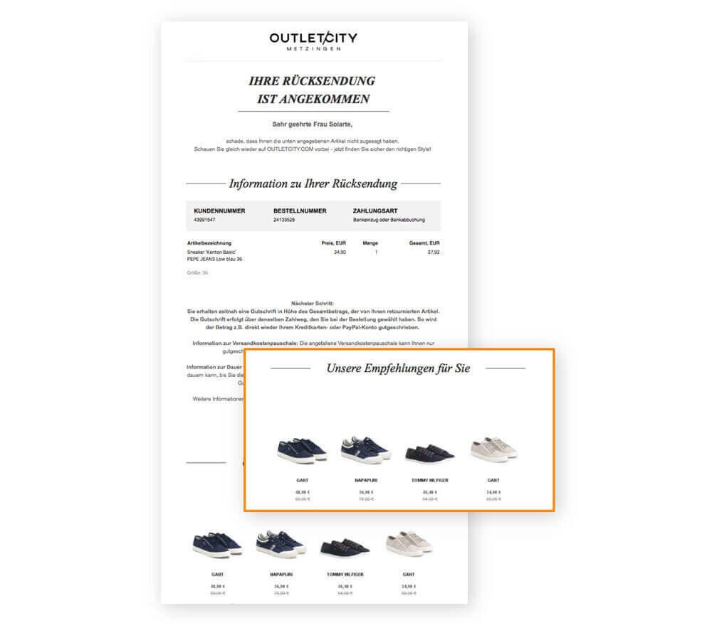 Ein Screenshot aus einer E-Mail von Outletcity Metzingen zeigt eine Retouren-E-Mail mit persönlichen Empfehlungen zum Rücksendeartikel, welche über E-Mail-Automation und Personalisierung versandt wurde.