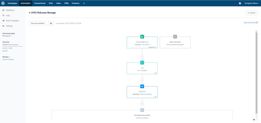 Das Bild zeigt ein Beispiel eines Marketing-Automation-Workflows für eine Willkommensmail bei Sendinblue.