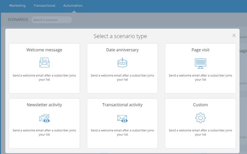 Der Screenshot zeigt eine Marketing-Automation-Vorlage im E-Mail-Versandsystem Sendinblue.