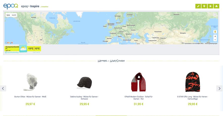Recommendation Widget mit der Funktion Geo Targeting für den Winter in Finnland