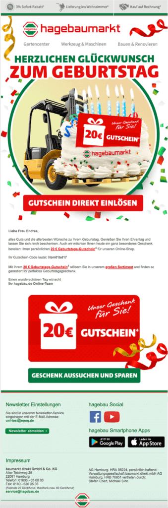 Beispiel einer Trigger Mail in Form einer Geburtstagsmail des Online Shop von hagebaumarkt.