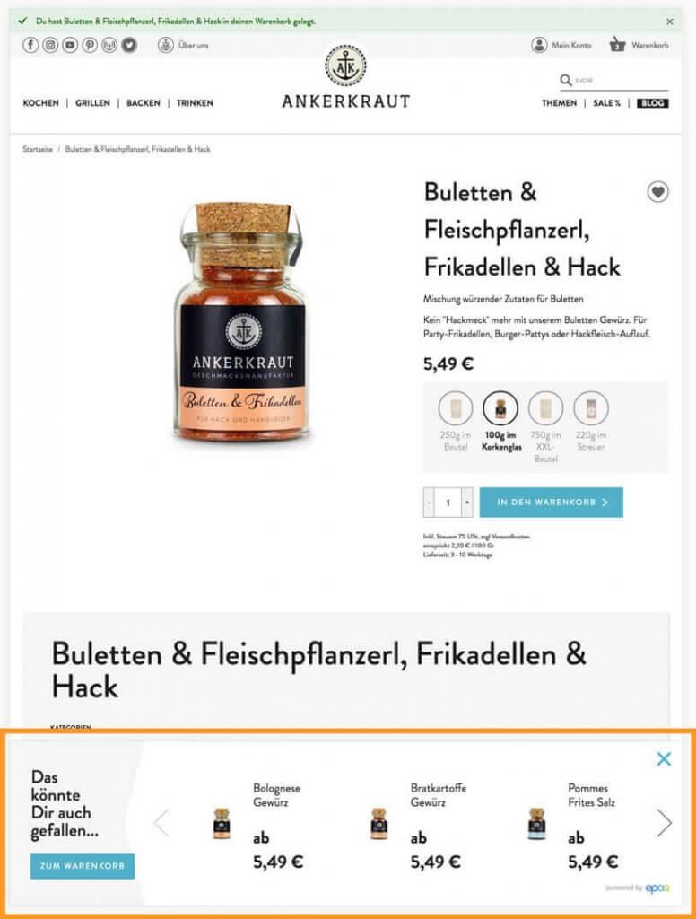 Warenkorb-Optimierung auf ankerkraut.de über Produktempfehlungen.