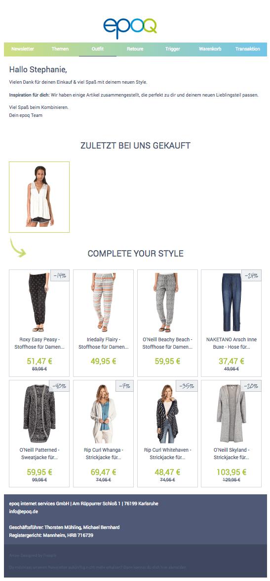 Outfit-Mail mit personalisierten Inhalten, die ein zuvor gekauftes Produkt ergänzen
