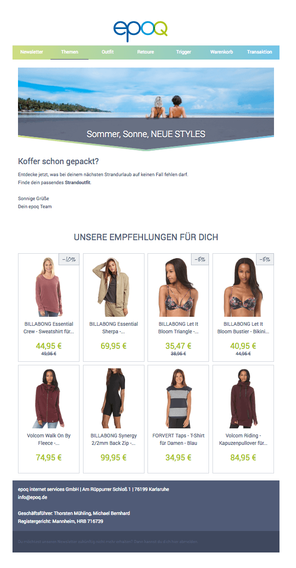 E-Mail-Marketing-Automation für das Thema Sommer, Sonne, neue Styles.