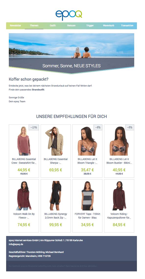 E-Mail-Marketing-Automation für das Thema Sommer, Sonne, neue Styles.