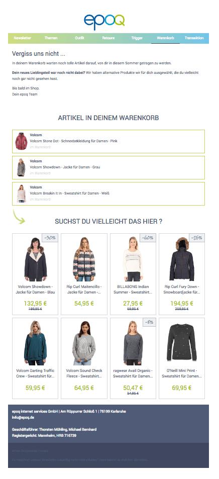 Das Bild zeigt ein Beispiel für eine Warenkorbabbruch-Mail, die mithilfe von E-Mail-Marketing-Automation versendet werden kann.