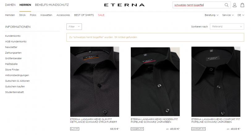 Beispiel für Fehlertoleranz der Onsite-Suche im Online Shop von ETERNA