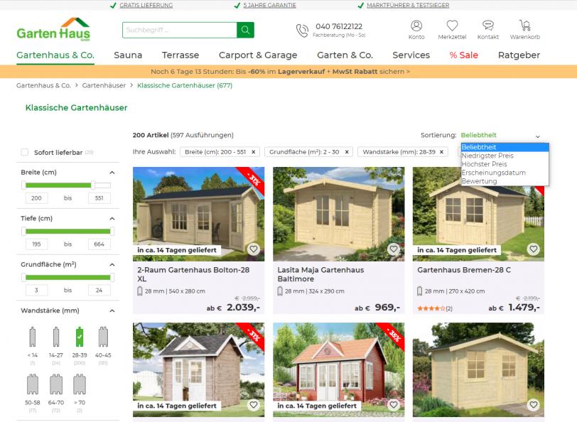 Beispiel für Sortierungs- und Fitlerfunktionen der Onsite-Suche im Online Shop von A-Z Gartenhaus