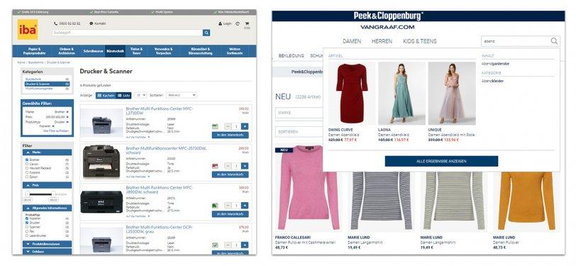 Beispiel für eine Facettennavigation im Online Shop von iba (links) und eine Type-Ahead-Funktion mit Vorschaubildern im Mode-Shop von Peek & Cloppenburg Hamburg (rechts)