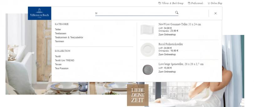Beispiel für das Auffinden von Content über die Onsite-Suche im Online Shop von Villeroy & Boch