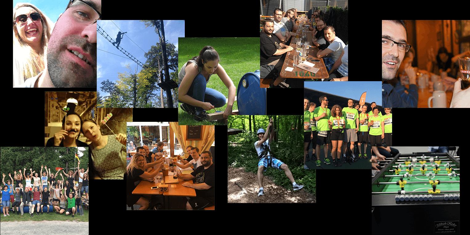 Foto Collage vom epoq Team bei gemeinsamen Aktivitäten, neben den Jobs bei epoq.