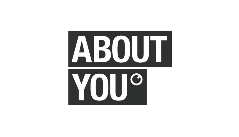 Das Bild zeigt das Logo von About you. Der Online Shop gehört zu den epoq Kunden.