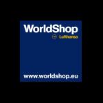 Das Bild zeigt das Logo vom Worldshop von Lufthansa. Der Online Shop gehört zu den epoq Kunden.