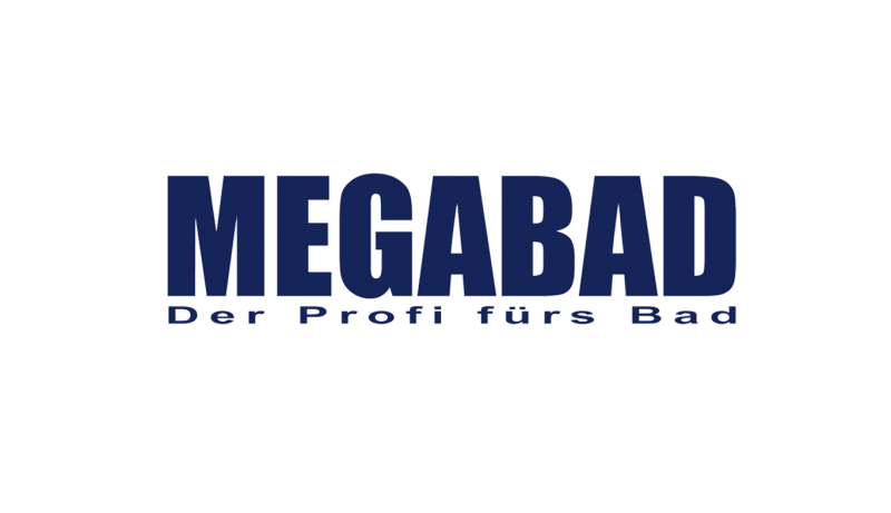 Das Bild zeigt das Logo von Megabad. Der Online Shop gehört zu den epoq Kunden.