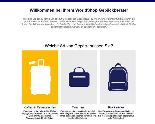 Der Lufthansa WorldShop Gepäckberater bietet Shopbesuchern ein Produktberatung für das passende Gepäckstück an.
